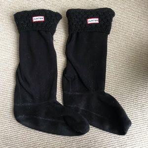 Hunter Cable Knit Boot Socks - black + long